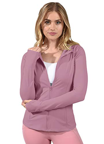 Yogalicious Womens Long Sleeve Full Zip Up Hoodie Jacket - Lilac - XS