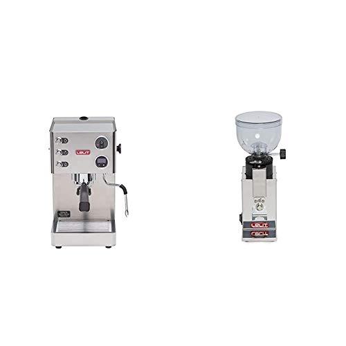 Lelit PL81T Siebträger Espressomaschine Grace & PL043 MMI Fred PL043MMI Kaffeemühle-Edelstahl-Gehäuse-Mikro-regulierung des Mahlens, Stainless Steel