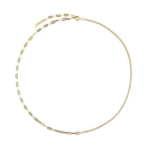 Pulsera de cadena de circonita arcoíris de plata esterlina 925 joyería de moda para mujer fina rock punk color regalo de color 45 cm collar blanco