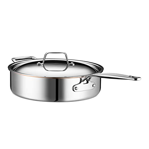 Legend Stainless 5-Quart Copper Core 5 ply Stainless Steel Saute Pan with Lid | Professional Home Chef Grade Clad Pot | For Soup, Broth & Stock, Chili, Casserole | All Surface, Induction & Oven Safe
