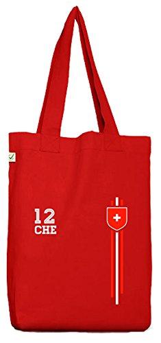 Swiss Soccer World Cup Fussball WM Fanfest Gruppen Bio Baumwoll Jutebeutel Stoffbeutel Streifen Trikot Schweiz, Größe: onesize,Red