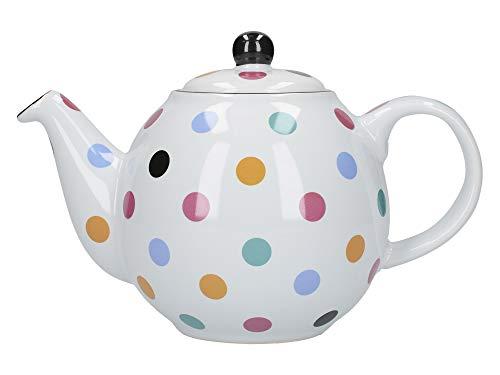 London Pottery Tetera con colador, Globe, cerámica, Blanco/Multi Spot, 2 Cup (500 ml)