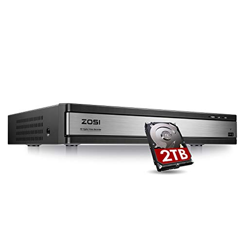 ZOSI 1080p Lite 16 Channel Security DVR Recorder, H.265+ Hybrid 4-in-1(Analog/AHD/TVI/CVI) CCTV DVR for Security Camera,Motion Detection,Mobile Remote Control,Email Alarm,2TB Hard Drive Included