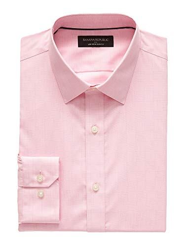 Banana Reublic Mens Slim-Fit Non-Iron Yarn Dye Shirt, Classic Pink (S)
