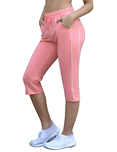 Doaraha 3/4 Pantalones Deporte para Mujer 100% Algodón Pantalon Piratas Capri Pantalones Chándal con Cordón para Correr,Yoga,Fitness,Danza