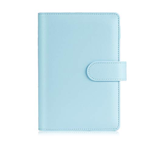 Sooez A6 Notebook Binder, 6 Ring Planner with Stylish Design, Loose Leaf Personal Organizer Binder Cover with Magnetic Buckle Closure, PU Leather Binder for Women with Macaron Colors (Mint Blue)