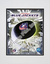 Columbus Blue Jackets NHL Double Matted 8x10 Photograph Team Logo and Hockey Puck