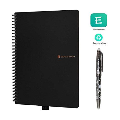 YSZDM Notebook Inteligente, rocketbook Wave Reutilizable borrable Nube Almacenamiento Notebook Escuela Oficina casa como Diario Suministros Cuaderno Escritura Memo,A5