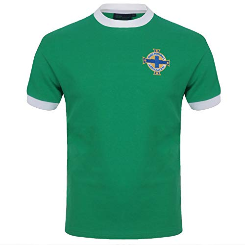 Northern Ireland Official Soccer Gift Mens Retro No.11 Home Shirt Green XL