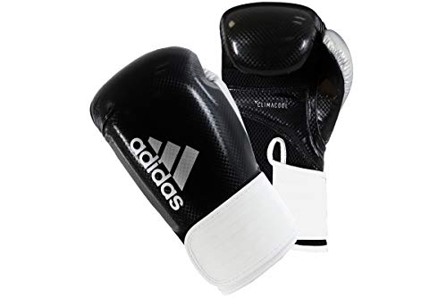 adidas Hybrid 65 Boxing Gym Training Sparring Fitness Gloves Guantes de Boxeo, Hombre, Negro/Blanco, 454 g
