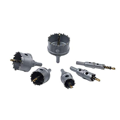 TCT Hole Saw Set, 6 Pcs Carbide Hole Saw Kit(16-60mm) with Titanium Plated Center Drill for Stainless Steel, Metal, Iron, Wood with Storage Case