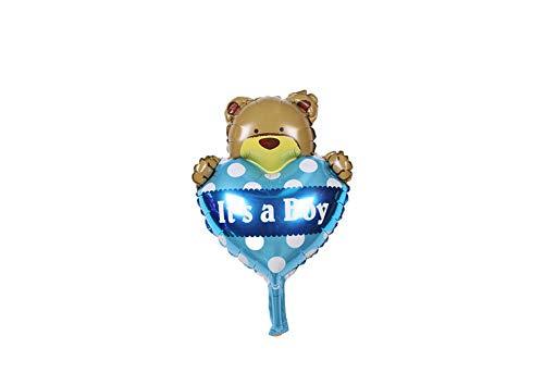 Grote blauwe beer en hart ballon its a boy voor geboorte jongen 38 cm