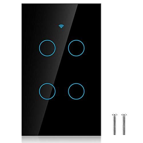 Interruptor Inteligente, Interruptor de Pantalla táctil, hogar Inteligente de ABS de Control de distribución de escenas para la Escuela(Black, U.S. regulations)