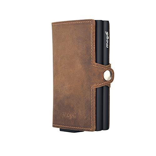 Premium Herren Portmonee RFID Schutz Kartenetui Business Geldbörse feinstes A++ Echtleder mogdi Nano Mini Duo Wallet Geldbeutel (schwarz, Duo)