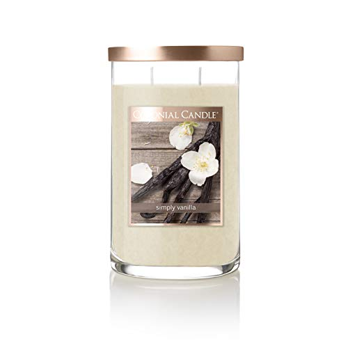 Colonial Candle Classic Cylinder Scented Jar Candle, Simply Vanilla, 18 Oz, Two Lead-Free Cotton Wick, Single, Ivory