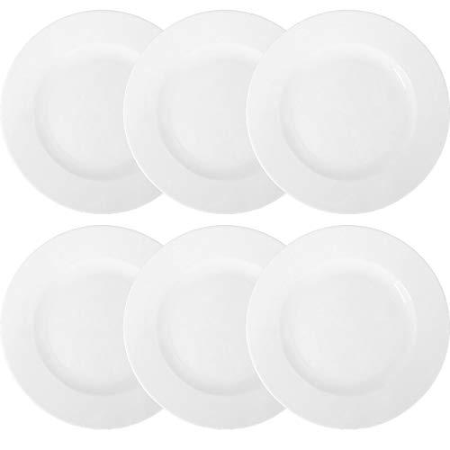 Doriantrade 6 Stück Essteller Speiseteller Teller flach 27 cm 6er Set Roma Porzellan Haushalt Gastronomie Geschirr