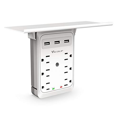 Socket Outlet Shelf, VICOUP 9 Port Multi Plug Wall Outlet Surge Protector 1080J with 3 USB Ports (3.4A Total), and Super Convenient Shelf for Cell Phone Placement - VI168