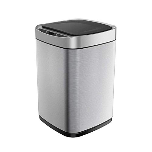 Trash Can Auto Touchless Smart Kitchen Bin Stainless Steel Intelligent Garbage Bin with Infrared Motion Sensor for Office Living Room Bedroom Kitchen and Bathroom 9L,Sand Steel