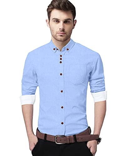 Voroxy Men's Cotton Blend Buttoned Closure Casual Shirt