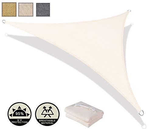 AXT SHADE Toldo Vela de Sombra Triangular 3 x 3 x 4,25 m, protección Rayos UV y HDPE Transpirable para Patio, Exteriores, Jardín, Color Beige