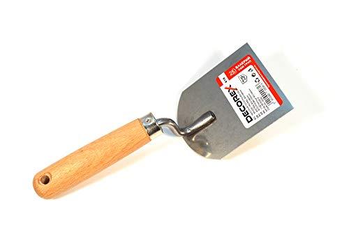 Truelle acier inoxydable Spatule gypse Plâtrier manche en bois 80x100mm