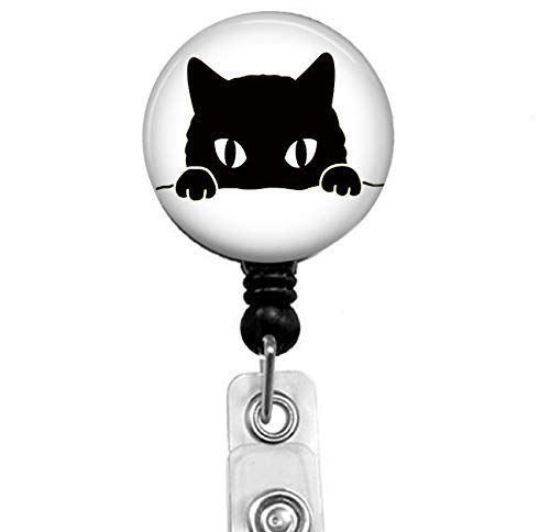 Black cat is Looking at You Badge Reel, Retractable Name Card Badge Holder with Alligator Clip, 24in Nylon Cord, Medical MD RN Nurse Badge ID, Badge Holder, Office Employee Name Badge