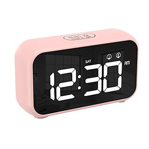 CHEREEKI Sveglia Digitale, Sveglia Digitale da Comodino USB e a Batteria con 12/24 Ore, Funzione di Snooze, 4 Livelli di luminosità per Casa e Ufficio (Rosa)