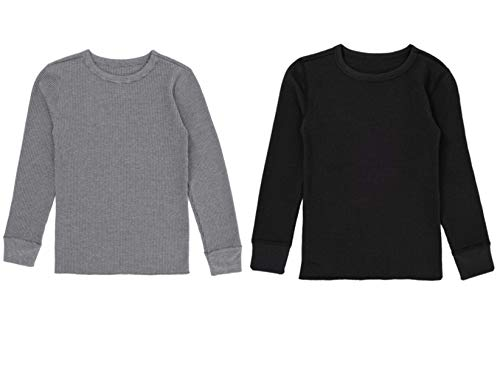 Fruit of the Loom Boys' Premium 2-Pack Thermal Waffle Crew Top, Black/Heather Greystone, 8