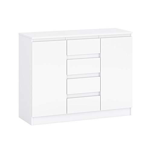 GLmeble Kommode mit Mehreren Schubladen Mehrzweckschrank für Schlafzimmermöbel, Massive Laminatplatte (Weiß, A1)