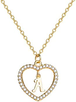 Lcherry Initial Women's A to Z Name Alphabet Heart Necklace