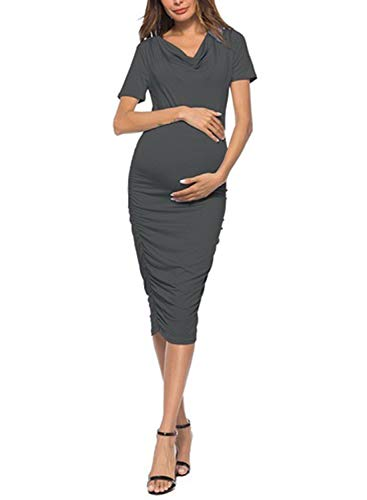 CORAFRITZ Elegantes Abendkleid für Damen, kurzärmelig, figurbetont, Midi-Kleid, gerüscht, Seitenkleid, Umstandskleid Gr. L, grau