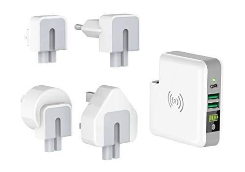 Smrter Wireless Qi (5W) powerbank als USB-voeding, 6700 mAh, gecertificeerd, 2X USB-uitgang (2.4A), 1x USB-C (3A), mit Reiseadapter, wit