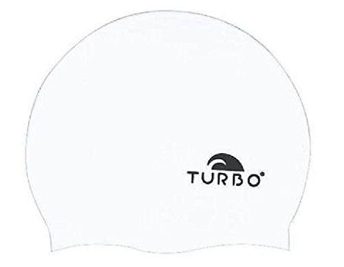 TURBO cuffia da nuoto bianco unicolore di silicone per il nuoto syncrono