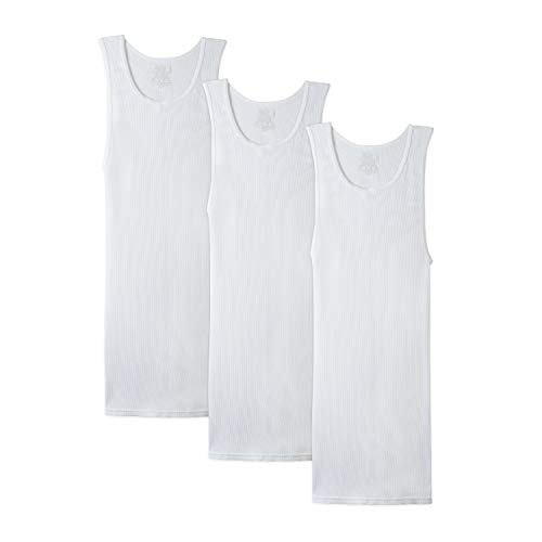 Fruit of the Loom Men's Tall Tag-Free Underwear & Undershirts, Big Man - Tank - 3 Pack, 5X-Large