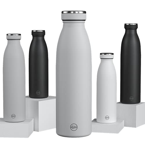 GH Botella de Agua acero Inoxidable 500ml Gris Ahumado | Frasco de Agua de Metal Reutilizable | Botella Termica Doble pared al vacío | Botella de bebida reutilizable Sin BPA, Antigoteo y Fugas