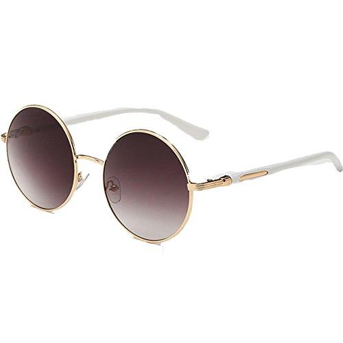 Gafas de sol redondas para mujer de Linyuan, diseño clásico vintage, UV400 marrón