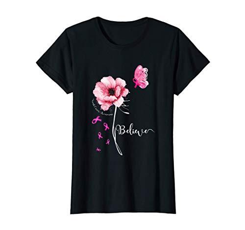 レディース Believe Flower Butterfly ピンクリボン 乳がん啓発 Tシャツ