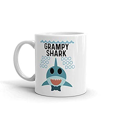 """Shark Grampy"" Unique Ceramic Coffee Mug/Cup (11 oz.) — Birthday Father's Day Christmas Gift For Dad Father Grandpa"