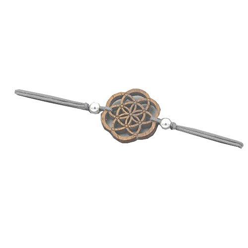 Eydl Wood Jewelry Holz Armband Samen des Lebens aus Nussholz. Armband ist größenverstellbar in hellgrau. Feinste Handarbeit aus Österreich.