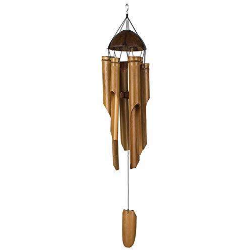 Campanas de viento – bambú y coco – Carillón de viento de comercio justo – 35 pulgadas de largo y de origen ético