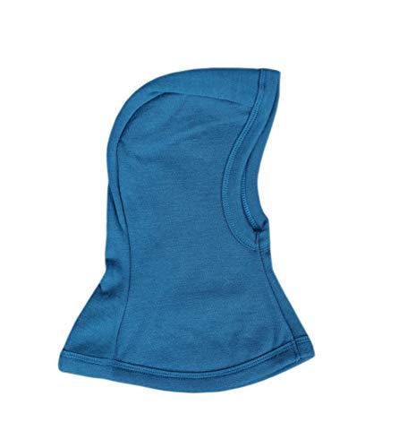 GREEN ROSE Cagoule 100 % laine mérinos pour bébé, écharpe, tour de cou, pour garçon, fille - Bleu - petit