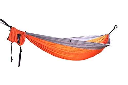 Outdoor reis camping dubbele hangmat voor 2 personen / strandlaken / zonnezeil - set incl. boomriemen, ophanging, karabijnhaak, tas, tas en nog veel meer. Parachutezijde High Tensity ultralicht nylon Grey / Orange / Grey 5mm Diamond