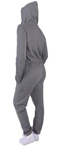 9C23 Finchgirl FG181 Damen Jumpsuit Overall Einteiler Jogging Anzug D.Grau M - 3