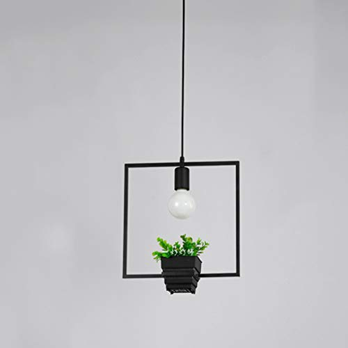 Tablelamp-SZQ Metall-Leuchter, Restaurant Balkon Kronleuchter Blumentopf Green Plant Pendelleuchte Single Head E27 Pendelleuchte quadratisch/rund (Color : Black, Size : 30 * 35CM)