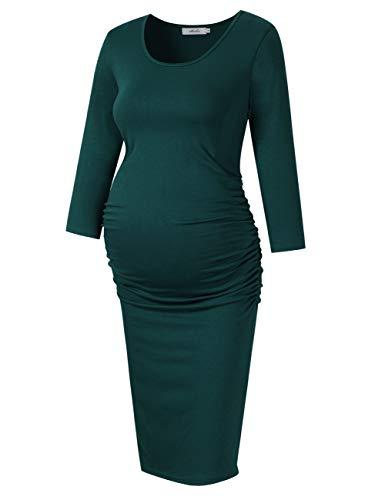KOJOOIN dames omstandjurk zwangerschapsjurk elegant jurk voor zwangere vrouwen lange mouwen knielang (verpakking MEERWEG)