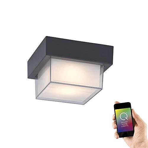 Paul Neuhaus, Q-Erik, LED Deckenleuchte, Staub- und Strahlwassergeschützt, Alexa-fähig, Smart Home, Außenleuchte, dimmbar mit Fernbedienung, RGB-Farbwechsel, warmweiss, quadratisch, anthrazit
