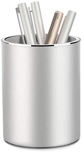 Pen Holder,Round Metal Pencil Holder,Pen Holder Round Aluminum Desktop Organizer and Cup Storage Box for Desk,Makeup Brush Holder(Silver pen holder)