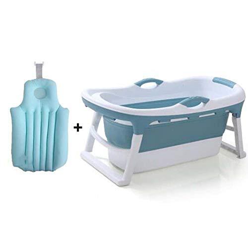 FCDWHJ Baby Badewanne faltbar, Babywanne mit rutschsicherer Fußpolster und hängende Schutzmatte,Badepositionen für Neugeborene, Säuglinge und Kleinkinder,Blau