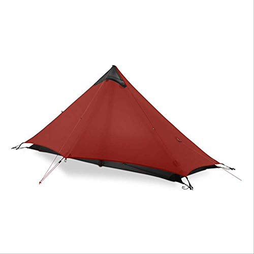 BAJIE tent Gear Lan Shan 1 Ultralight 15D Silicone Coated 1 Man Single Person Backpacking Tent 3 Season For Camping Hiking Trekking 15D Red 1 People