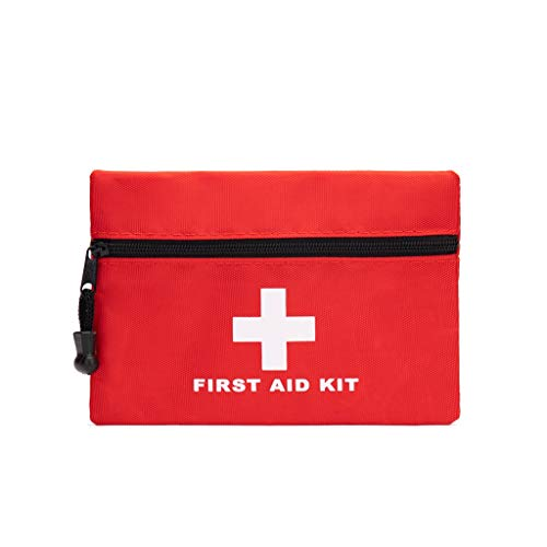Red First Aid Bag Empty, Jipemtra First Aid Backpack Empty First Aid Pouch Small Mini Waterproof for First Aid Kits Pack Emergency Hiking Backpacking Camping Travel Car Cycling (Red 5.9x4.3inch)